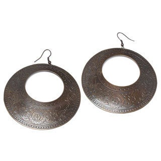 Mela Artisans Sun Drops Engraved Earrings (India)