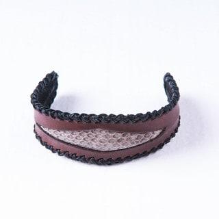Snakeskin Side Stitched Brown Genuine Leather Cuff Bracelet (Thailand)