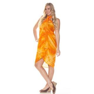1 World Sarongs Women's Orange Tie-dye Sarong (Indonesia)