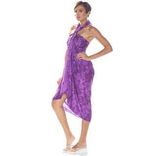 1 World Sarongs Women's Purple/ Black Floral Sarong (Indonesia)