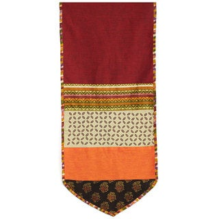 Red/ Multicolored Applique Cotton Table Runner (India)