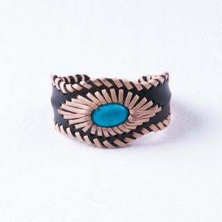 Turquoise Diamond-stitched Genuine Leather Cuff Bracelet (Thailand)