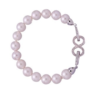 Rhodium-plated Freshwater Pearl and Cubic Zirconia Beaded Strand Bracelet