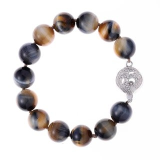 Rhodium-plated Golden Eye with Blue Stone and Cubic Zirconia Beaded Strand Bracelet