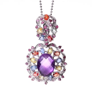 Rhodium-plated Sterling Silver Multi-gemstone and Amethyst Necklace