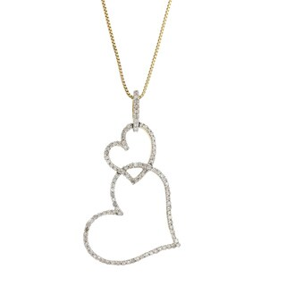 10k White Gold 1/3ct TDW Diamond Double-heart Chain Necklace (14k Box Chain) (G-H, SI1-SI2)