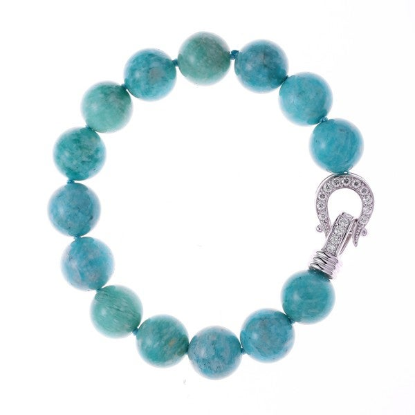 Rhodium-plated Sterling Silver Cubic Zirconia Amazonite Beaded Strand Bracelet