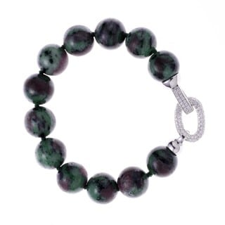 Rhodium-plated Sterling Silver Cubic Zirconia Ruby Zoisite Beaded Strand Bracelet