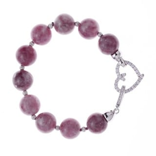 Rhodium-plated Sterling Silver Cubic Zirconia/ Purple Lepidolite Beaded Strand Bracelet