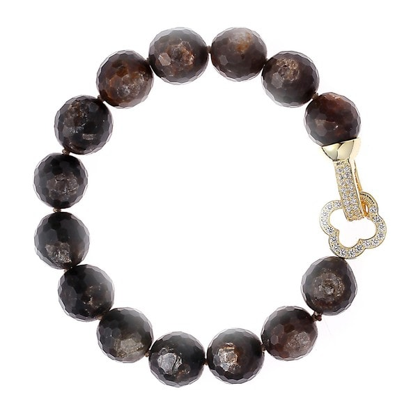 Double-sided Rhodium-plated Sterling Silver Cubic Zirconia/ Golden Mica Beaded Strand Bracelet