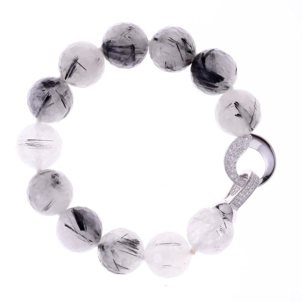 Rhodium-plated Sterling Silver Cubic Zirconia Black Rutile Quartz Beaded Strand Bracelet