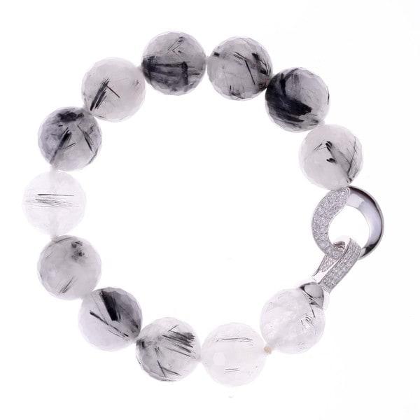 Rhodium-plated Sterling Silver Cubic Zirconia Black Rutile Quartz Beaded Strand Bracelet