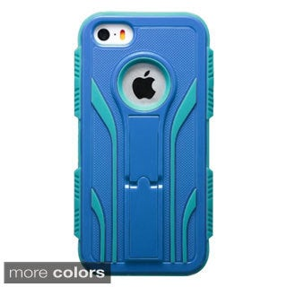 INSTEN Dual Layer Hybrid Stand Rubberized Hard PC Plastic PC/ Silicone Phone Case Cover For Apple iPhone 5/ 5S
