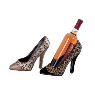 Polystone Fabric Shoe Shaped Wine Holder (Set Of 2)