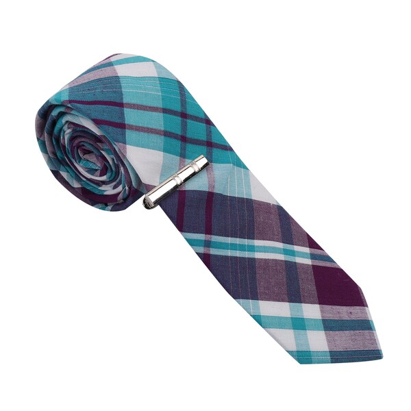 Skinny Tie Madness Men's Cotton Skinny Tie with Tie Clip