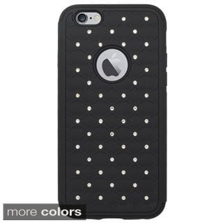 INSTEN Dual Layer Hybrid Rubberized Hard PC/ Silicone Phone Case Cover With Diamond For Apple iPhone 6 4.7-inch