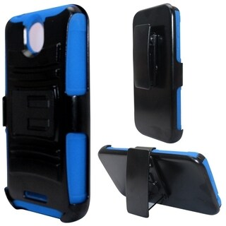 INSTEN Advanced Armor Dual Layer Hybrid Stand Rubberized Hard PC/ Silicone Holster Phone Case Cover For HTC Desire 510