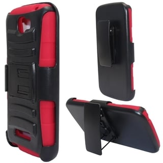 INSTEN Advanced Armor Hybrid Rubberized Hard PC Silicone Holster Phone Case Cover For Alcatel One Touch Fierce 2 7040T