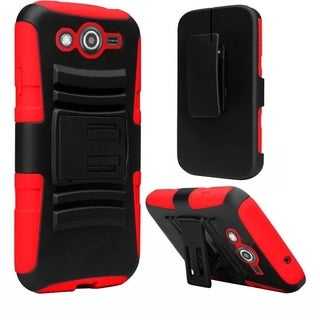 INSTEN Advanced Armor Dual Layer Hybrid Rubberized Hard PC/ Silicone Holster Phone Case Cover For Samsung Galaxy Avant