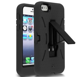 INSTEN Plain Color Symbiosis Rubber Silicone/ PC Phone Case Cover With Stand For Apple iPhone 5/ 5S/ SE