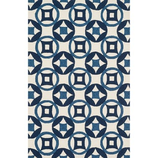 Hand-hooked Charlotte Ivory/ Navy Rug (7'6 x 9'6)