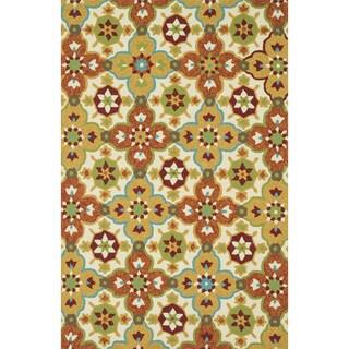 Hand-hooked Indoor/ Outdoor Capri Orange/ Multi Rug (3'6 x 5'6)