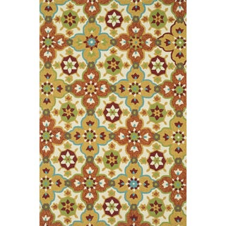 Hand-hooked Indoor/ Outdoor Capri Orange/ Multi Rug (7'6 x 9'6)