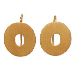 Gold Plated Sterling Silver 'Golden Aura' Drop Earrings (Peru)