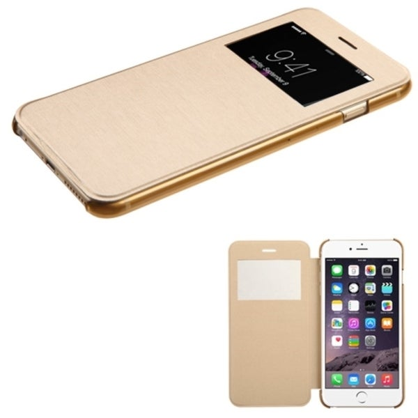 Insten Gold Flip Folio Leather Phone Case for Apple iPhone 6 Plus/ 6+ (As Is Item)