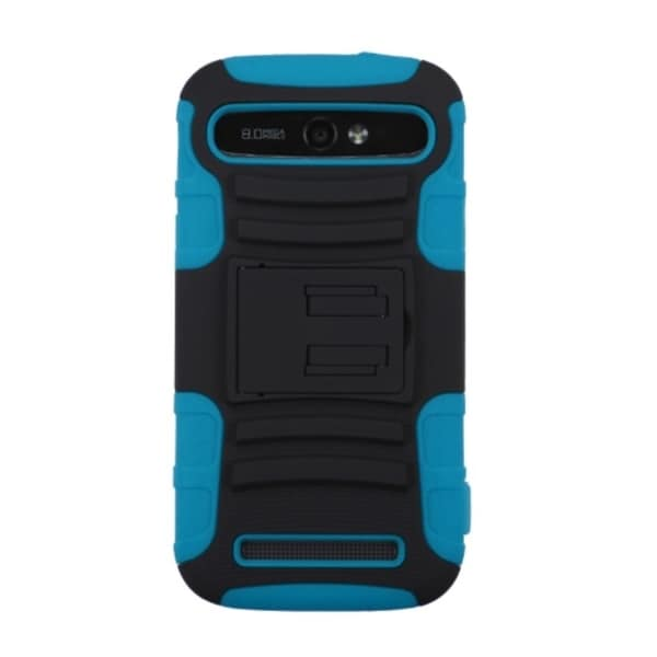 INSTEN Dual Layer Hybrid Stand Rubberized Hard PC/ Silicone Phone Case Cover For ZTE Grand S Pro N9835/ Warp Sync N9515