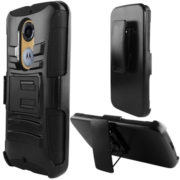 INSTEN Dual Layer Hybrid Stand Rubberized Hard PC/ Silicone Holster Phone Case Cover For Motorola Moto X 2014 Version