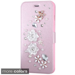 INSTEN 3D Stand Folio Flip Leather Wallet Phone Case Cover With Diamond For Apple iPhone 6 Plus/ 6+ 5.5-inch