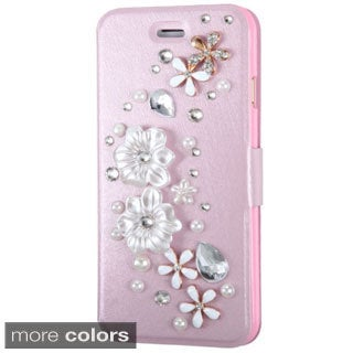 INSTEN 3D Stand Folio Flip Leather Wallet Phone Case Cover With Diamond For Apple iPhone 6 4.7-inch