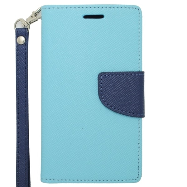 INSTEN Premium Blue Stand Folio Flip Leather Wallet Phone Case Cover For LG Optimus F6