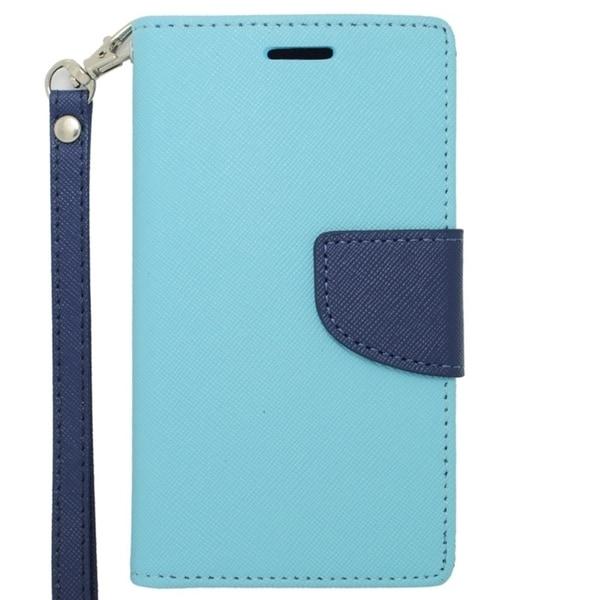 INSTEN Premium Blue Stand Folio Flip Leather Wallet Phone Case Cover For LG Optimus F6