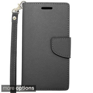 INSTEN Carbon Fiber Stand Folio Flip Leather Wallet Phone Case Cover For Alcatel One Touch Fierce 2 7040T