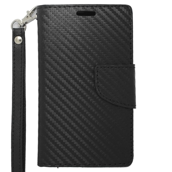INSTEN Black Carbon Fiber Stand Folio Flip Leather Wallet Phone Case Cover For Nokia Lumia 521