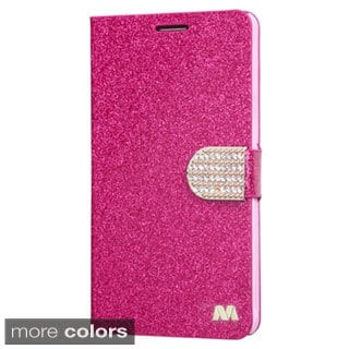 INSTEN Stand Folio Flip Leather Wallet Phone Case Cover With Diamond For Samsung Galaxy Note 4