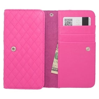 INSTEN Universal Hot Pink Leather Horizontal Slide in Pocket Phone Pouch Case Cover With Card Slot and Lanyard For 4.5-inch Size
