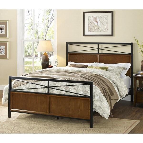 Wood Metal Bed : Dorel Living Harmony Full/ Queen Wood and Metal Bed