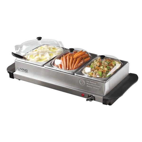 Nostalgia Electrics 1-quart Three-station Buffet Server
