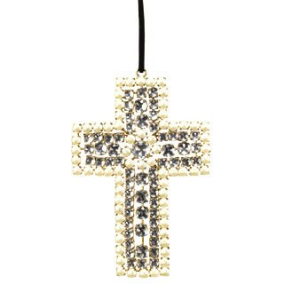 Sage & Co. Crystal Pearl Cross 5-inch Ornament (Pack of 6)