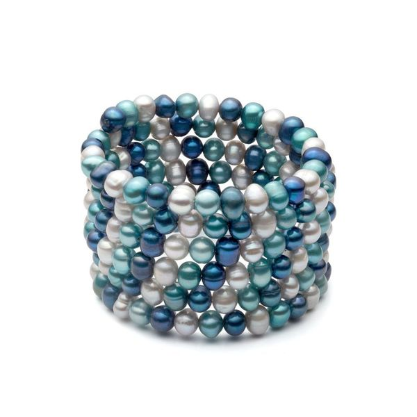 Freshwater Pearls in Blues and Greys Coil Bangle (6-7 mm)
