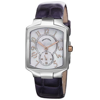 Philip Stein Women's 21RG-MOP-LAPR 'Signature' Mother of Pearl Dial Purple Leather Strap Quartz Watch