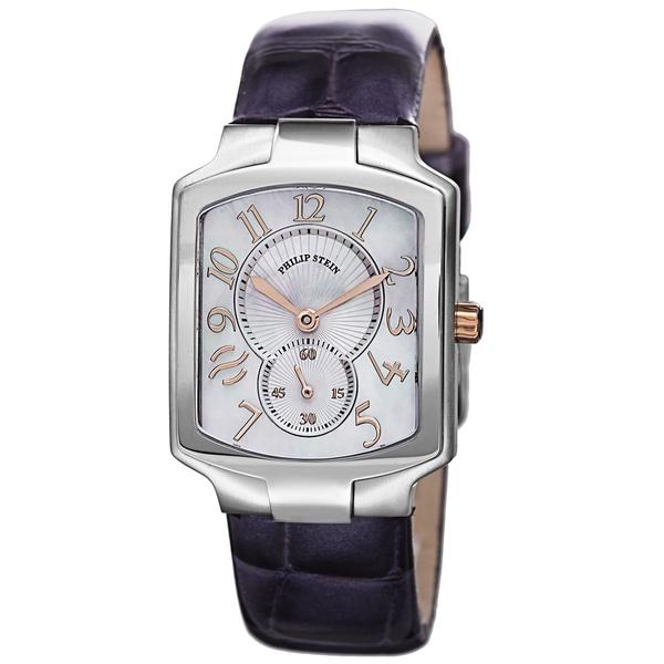 Philip Stein Women's 21RG-MOP-LAPR 'Signature' Mother of Pearl Dial Purple Leather Strap Quartz Watch