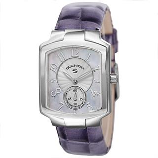 Philip Stein Women's 21-FMOP-LAPR 'Signature' Mother of Pearl Dial Purple Leather Strap Quartz Watch