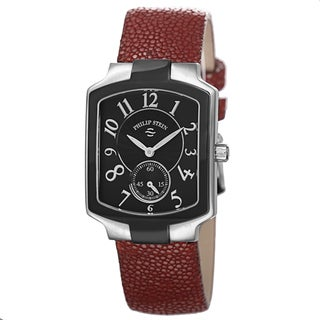 Philip Stein Women's 21TB-FB-GR 'Signature' Black Dial Red Leather Strap Quartz Watch