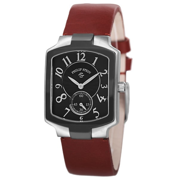 Philip Stein Women's 21TB-FB-CIDR 'Signature' Black Dial Red Leather Strap Quartz Watch