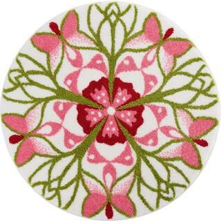 Floral Round White/ Pink Bath Rug