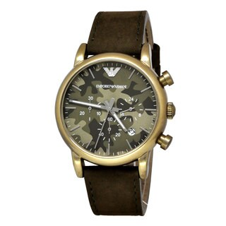 Armani Men's AR1818 Classic Round Green Nubuck Strap Watch